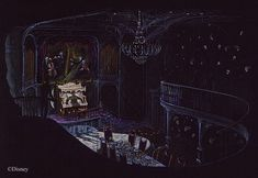 Disney's Haunted Masion Paintings | His sketch for the ballroom scene,