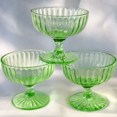 9d639ddcb618 Green Depression Glass Sherbets Aurora Simpleton Hazel Atlas via Etsy  Antique Cookie Jars
