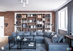 Bardzo miłe dla oka połączenie cegieł, szarości oraz drewna na podłodze. Zgadzacie się? :)   Foto: http://www.homebook.pl/inspiracje/salon/383119_salon-salon-styl-industrialny