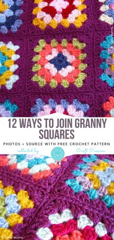 12 Ways To Join Granny Squares Free Patterns : . 12 Ways To Join Granny Squares Free Patterns : 12 Ways To Join Granny Squares Free Patterns : . 12 Ways To Join Granny Squares Free Patterns : Crochet Granny Square Beginner, Joining Crochet Squares, Granny Square Pattern Free, Granny Square Projects, Granny Square Häkelanleitung, Crochet Basics, Free Pattern, Granny Granny, Square Patterns