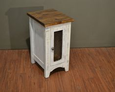Rustic Modern Style Solid Pine Wood Distressed Colored Narrow End Table / Side Table or Nightstand with Mesh Door Rustic End Tables, End Table Sets, Wood Display, Table Sizes, Mortise And Tenon, Custom Woodworking, Solid Pine, How To Distress Wood, Modern Rustic
