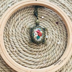 Handembroidery turtle necklace