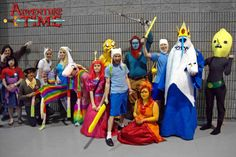 From L-R: Marshall Lee, Marcy with Hambo, Party Pat, Cake with TV, Fiona, Lady, young Princess Bubblegum, Jake, Beard-Finn, younger Billy, Flame Princess, Finn, Ice King with Gunter and Lemongrab