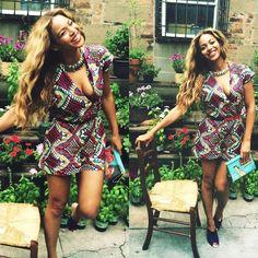 Beyonce's Tumblr Demestiks New York by Reuben Reuel Purple Printed Romper