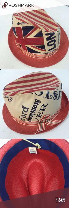 Rocky Fedora Straw brim , cotton denim crown. Lovely British theme Accessories Hats