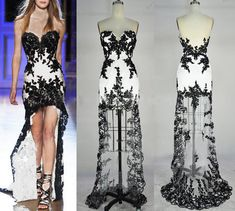 If I ever wore dresses this would be a neat formal. Strapless Hi-low Gown Rich Beaded Lace Applique Black/White Evening Dresses, Prom Dresses, Wedding Dress Evening Gown, Prom Gown Black And White Evening Dresses, High Low Evening Dresses, Evening Gowns, Trendy Dresses, Cute Dresses, Beautiful Dresses, Prom Dresses, Dresses 2016, Amazing Dresses