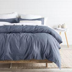 Java Light Blue Washed Cotton Quilt Cover Set | Pillow Talk