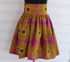 Items similar to African skirt Knee length skirt high Waist large waist band african wax print african fabric ruffled skirt custom made, Optical Illusion on Etsy African Inspired Fashion, African Fashion, Midi Length Skirts, Midi Skirt, Pleated Skirts, African Fabric, African Skirt, Nigerian Fashion Designers, Kente Dress