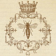 QUEEN BEE Ornate Frame CROWN Digital Collage by graphiquesepia, $1.00