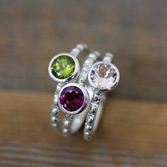Morganite, Peridot and Rhodolite Garnet Ring in Recycled Sterling Silver, Gemstone Stacking Ring Set of Pinks and Green by Vyoleto