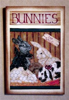 Bunnies!  Just in time for Easter, cute rabbits on canvas, print from Laurie Sherrell Maurey Decorative art wood sign by lauriesherrell on Etsy