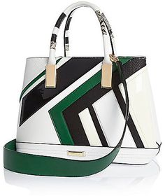 caf949ae17ef River Island Womens Green stripe tote handbag Striped Tote Bags, Pink Tote  Bags, White