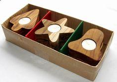 teak wood candle holders