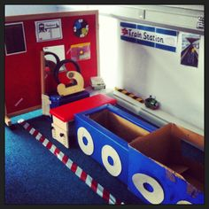 Train Station Role-Play Area (with Big Mac switch saying choo choo, tickets, till, train with steering wheel mirror) Transportation Activities, Eyfs Activities, Train Activities, Number Activities, Trains Preschool, Transport Topics, Play Corner, Dramatic Play Area, Infant Classroom