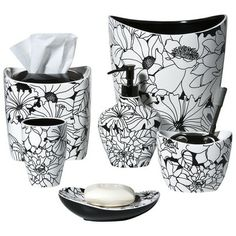 Floral Bath Coordinates Collection - Black/White.Opens in a new window.