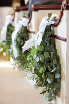 Prettiest Spring Wedding Color Inspirations You Must See--Spring white ribbon and greenery wedding flowers, wedding chair decors, DIY country outdoor wedding ideas, wedding decorations Church Wedding Flowers, Wedding Pews, Aisle Flowers, Chapel Wedding, Pew Bows For Wedding, Greenery For Wedding, Wedding Pew Decorations, Floral Wedding, Wedding Simple
