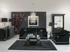 Classy Living Room Interior with White Wall Paint Color and Marvellous Black Sofa Completed also Cool Black Floor Lamp and Elegance Pendant Lamps and Unique Curtains also Drawer