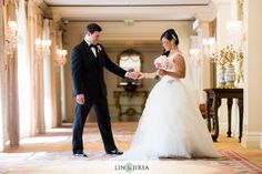 06 The Langham Huntington Pasadena Wedding | Matt and Kim Love the first look pose, both bride and groom reactions.