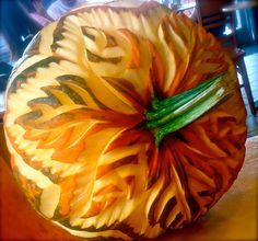 Pumpkin carvings at weddings?   Sure, when they are freehand art!