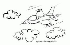 Contoh Gambar Mewarnai Pesawat Tempur