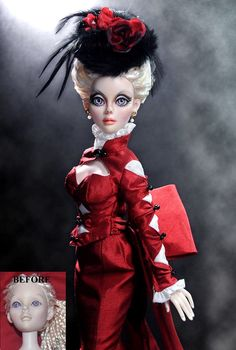 Restoration Work and Repair (Before and After of Non-Celebrity doll) custom hair styling and repaint/makeover of 17 inch Evangeline Ghastly Haunted Melody doll