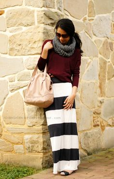 Ladies- Dress up your basic tee or dolman sleeve tee by pairing it with a stylish maxi skirt and scarf.