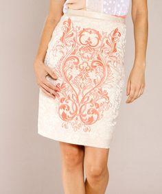 Loving this Cream Ivory & Orange Baroque Pencil Skirt on #zulily! #zulilyfinds