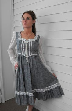 Vintage Gunne Sax Dress 70s Country Blue Floral 5 XS by soulrust, $89.99