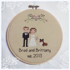 Custom Cross Stitch Wedding Portrait | Cotton Anniversary | Cotton Anniversary | House Warming Gift