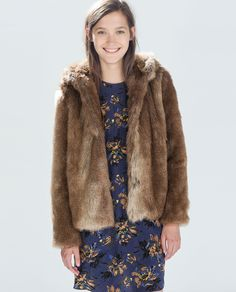 Image 1 of JACKET WITH FUR HOOD from Zara