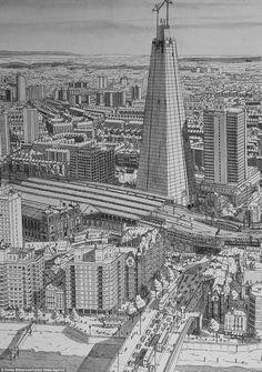 Os Impressionantes Desenhos de Stefan Bleekrode  Shard London Bridge, Londres