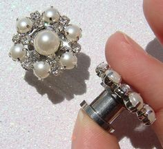 Wedding Pearl and Crystal Plugs / 2  10mm / pearl by misunbridal, $29.50
