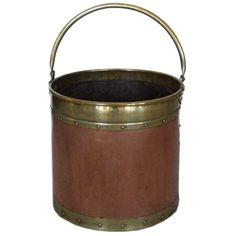 19th c. English Copper Apple Kettle with Brass Detailing | From a unique collection of antique and modern fireplace tools and chimney pots at http://www.1stdibs.com/furniture/building-garden/fireplace-tools-chimney-pots/