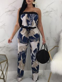Shop Tropical Print Strapless Drawstring Waist Jumpsuit at victoriaswing, personal womens clothing online store! high quality, cheap and big discount, latest