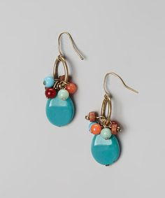 Turquoise & Coral Bead Drop Earrings