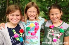 Cute pom pom ball necklace made with eeBoo craft kit! So fun for the girls when they get together.