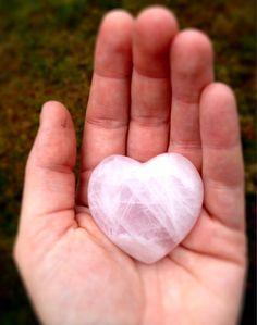 Rose Quartz Heart Puff Polished Palm Stone by CrystalSensation #love #stockingstuffer #rosequartzheart