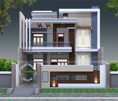 Decorative style contemporary home is part of House design - decorative style 2824 square feet contemporary home plan by S I Consultants, Agra, Uttar Pradesh, India Modern Exterior House Designs, Best Modern House Design, Modern House Facades, Modern Architecture House, Modern Houses, Bungalow Haus Design, Duplex House Design, House Front Design, Small House Design