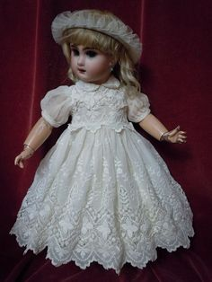 Beautiful Antique muslin Dress for french bebe Jumeau size 7 from believe on Ruby Lane