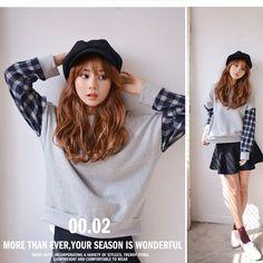 Checkered Sleeve SWEATSHIRT ~Korean Fashion Cute School Kpop Cosplay Uniform Hat