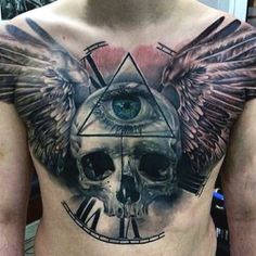 Skull With Wings Tattoo On Mens Chest