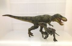These figures of a Green Running T-Rex and a Velociraptor from Papo Dinosaur series are coming with incredible details and beautiful painting that set these dinosaur toys apart from most others. The T-Rex and Velociraptor have moveable jaws that open or close.