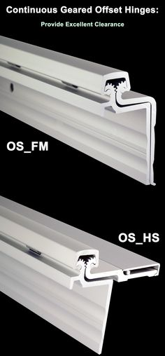 """OS_FM & OS_HS - Continuous Geared Offset Hinge - PEMKO Offset Hinge solutions allow you to use a high load continuous hinge as a """"Swing Clear"""" hinge. Hinges are available in full mortise and half surface styles. http://www.pemko.com/assets/literature/documents/PEMKO%20Offset%20Hinge%20Sell%20Sheet%209.12.11%20FINAL.pdf"""