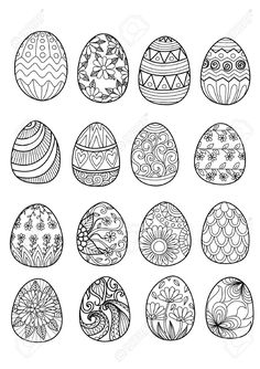 16 Easter Eggs To Print And Color Various Styles Ornaments From The Gallery Events Artist Bimdeedee Source