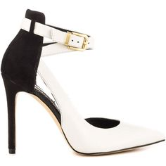 Guess Footwear Women's Ambelu - Ivory Multi Lea (1,725 MXN) ❤ liked on Polyvore featuring shoes, pumps, heels, white, white high heel pumps, pointy-toe pumps, stiletto heel pumps, d'orsay pumps and ankle strap pumps