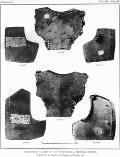 Brigandine Plates, 1390 - 1420, brigandine plates in the ethnological museum, Athens. Probably late 14th / early 15th century. Italian type from Chalcis.