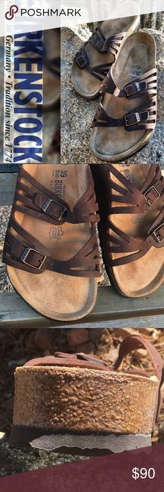 Birkenstock Granada Mocha Leather 39 Beautiful! Hardly worn—as you can see in the pictures These are in great condition! Soft Footbed. Mocha Brown Leather goes with everything. Regular fit.   Made in Germany. 🇩🇪 (Making feet happy since 1774!) Birkenstock Shoes Sandals
