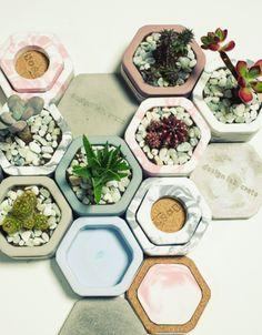 [썸띵플레이] 놀랍고 재밌는 라이프스타일 디자인 편집샵 [Crete] DIY 육각형 콘크리트 미니 다육 선인장 화분 Cactus Pot