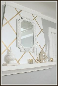 Love gold home decor? Then these gorgeous DIY gold home decor projects are for you! These gold decor ideas - from furniture to mirrors and accessories - a fun and easy to make! Frog Tape Wall, Tape Wall Art, Diy Wall Art, Diy Wall Decor, Entryway Decor, Washi Tape Wallpaper, Metallic Wallpaper, By Any Means Necessary, Gold Home Decor