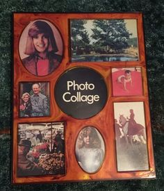 1970s Vtg Plastic Tortoise Shell Photo Picture Frame Collage Family Wall Hang